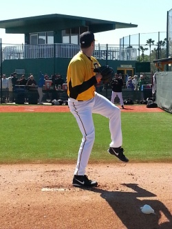2011/12 Curve RHP Phil Irwin tosses a bullpen in his first big-league camp in Bradenton.