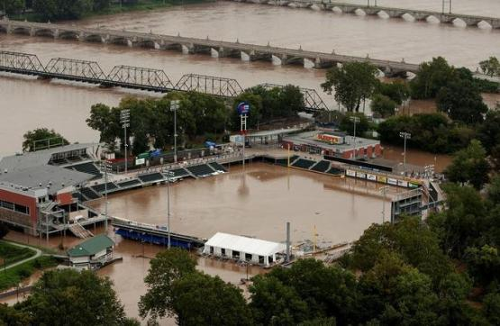 A flooded Metro Bank Park in Harrisburg, Pa. in 2011 (Photo - Harrisburg Patriot News)