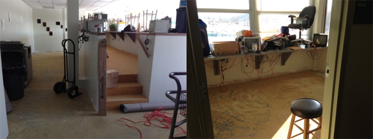 On the left you'll see the main press box area where the media normally sits. On the right, the home radio booth looks a bit disheveled.