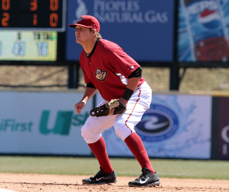 Stetson Allie will move from first base to the outfield this season (Mark Olson / MiLB)