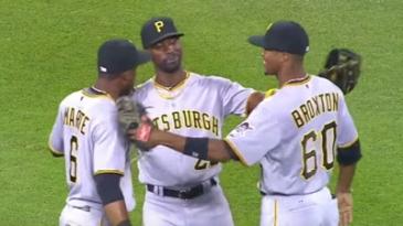 Marte, Cutch and Broxton celebrate the Pirates clinching a playoff berth.