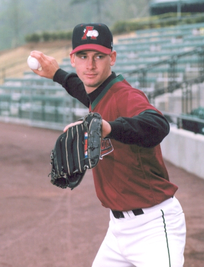 Bronson Arroyo | Black cap with red bill (Photo from 1999)